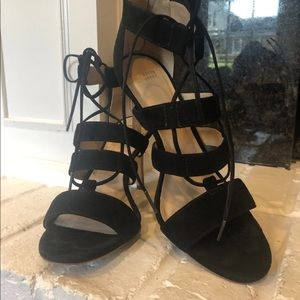 Johnston & Murphy Black Strappy Heels Size 8.5